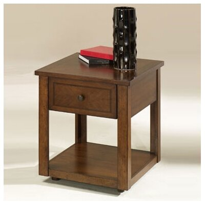 Cheap Hammary Nuance Rectangular Drawer End Table in Mid Tone Cherry Finish (HAM2013)