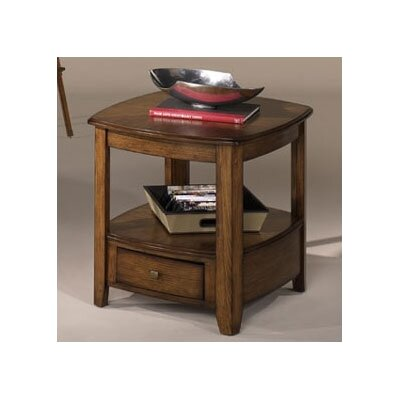 Cheap Hammary Primo Rectangular Drawer End Table in Warm Medium Brown Finish (HAM2039)