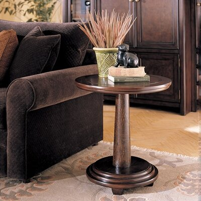 Cheap Hammary Magellan Round Pedestal End Table in Rich Chocolate Finish (HAM2513)