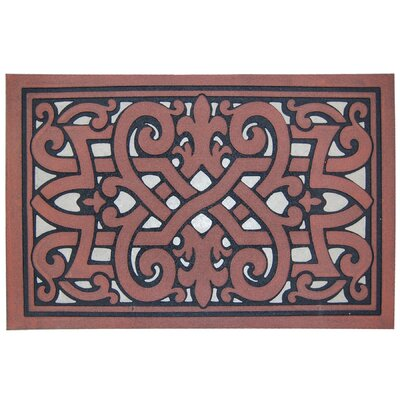 Celtic Scroll Doormat Rug Size: 16 x 26, Color: Sand