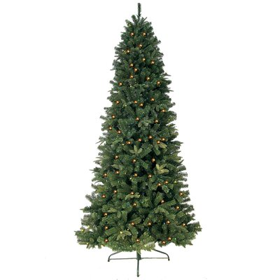 7' Green Eastwood Fir Slim Artificial Christmas Tree with 600 Clear Lights and Metal Stand