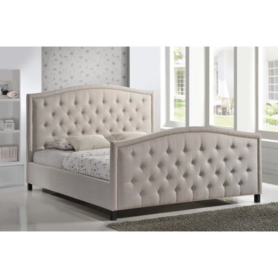 Camden King Upholstered Panel Bed Size: King, Color: Khaki