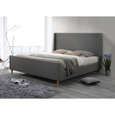 Bedford Eastern King Upholstered Platform Bed Color: Linen Gray