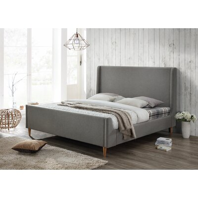 Bedford King Upholstered Platform Bed Color: Linen Gray