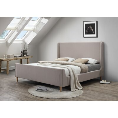 Bedford King Upholstered Platform Bed Color: Beige