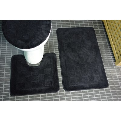 Sheppton 3 Piece Bath Rug Set Color: Black