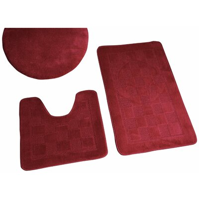 Sheppton 3 Piece Bath Rug Set Color: Burgundy