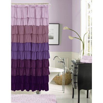 Poitras New Ruffled Shower Curtain Color: Purple