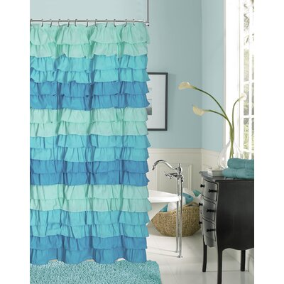 Rossiter Ruffled Fabric Shower Curtain Color: Blue