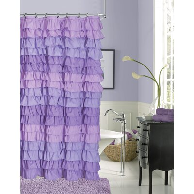 Rossiter Ruffled Fabric Shower Curtain Color: Purple