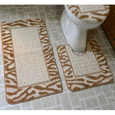 3 Piece Animal Rug Set Color: Brown/Beige