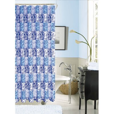 Kate Printed Shower Curtain Color: Blue