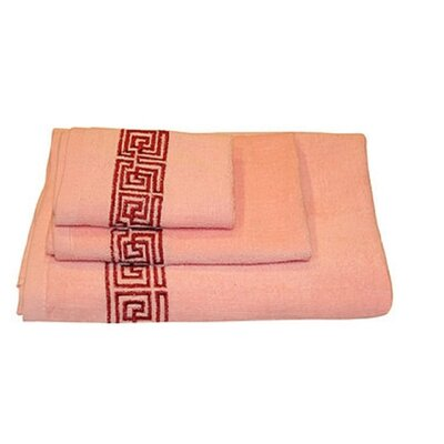 Helena Greek Key 3 Piece Towel Set Color: Pink