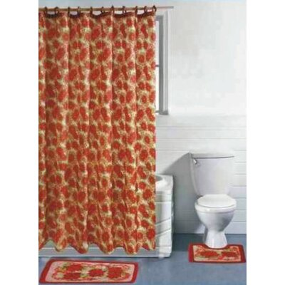 Christmas Rose 15 Piece Shower Curtain Set