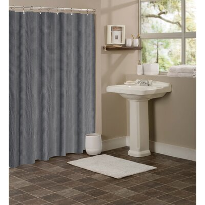 Figaro Waffle Shower Curtain Color: Silver