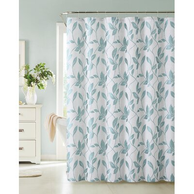 Londonshire Leaf Shower Curtain Color: Aqua