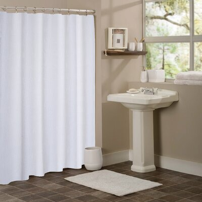 Stripped Hotel Waffle Shower Curtain Color: White