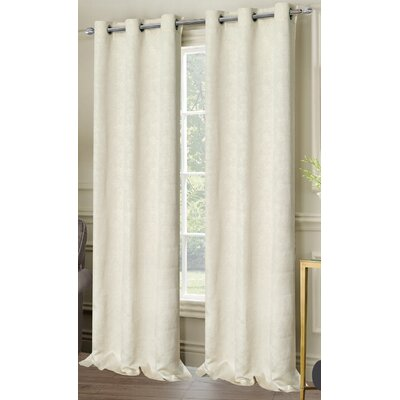 Matelasse Grommet Curtain Panels Color: Ivory