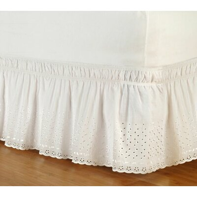 Eyelet Wrap Around Bed Skirt Color: White, Size: Twin/Full