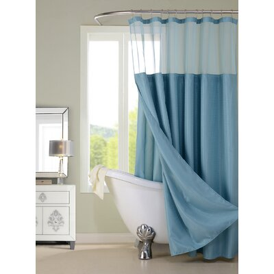 Guerrero Vinyl Shower Curtain with Detachable Liner Color: Aqua