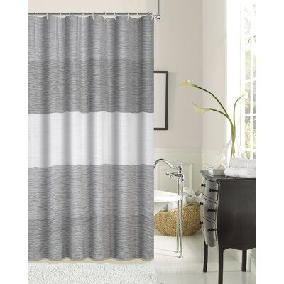 Evelyn Ocean Wave Shower Curtain Color: Ivory/Blue/Silver