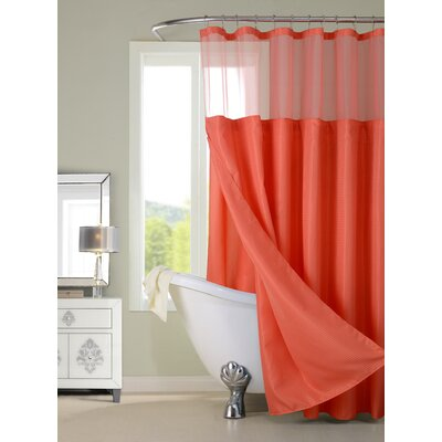 Guerrero Vinyl Shower Curtain with Detachable Liner Color: Coral