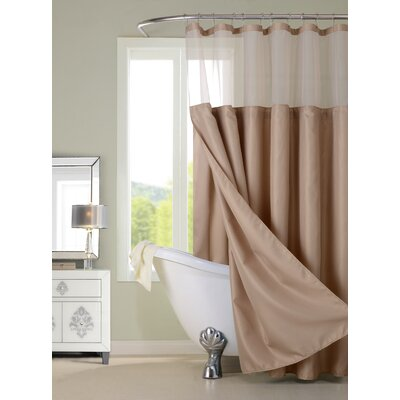 Guerrero Vinyl Shower Curtain with Detachable Liner Color: Mocha