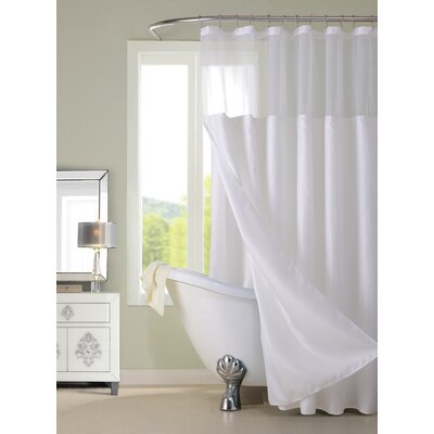 Guerrero Vinyl Shower Curtain with Detachable Liner Color: White