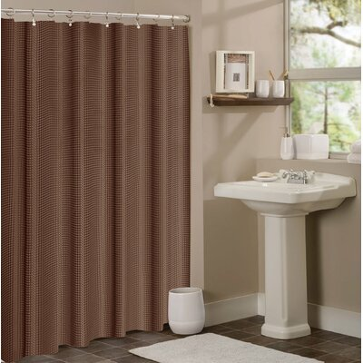 Timberview Waffle Shower Curtain Color: Chocolate