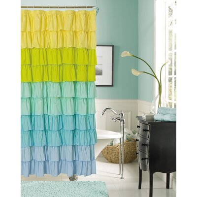 Poitras New Ruffled Shower Curtain Color: Blue