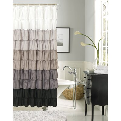 Poitras New Ruffled Shower Curtain Color: Silver/Black