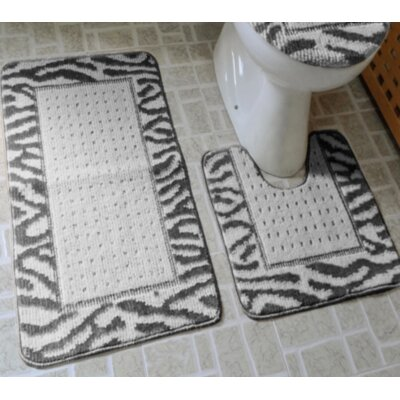 Ollie 3 Piece Animal Print Bath Rug Set Color: Black/Ivory