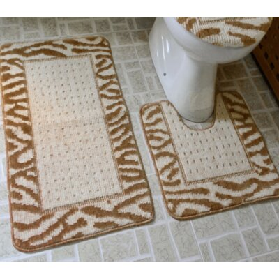 Ollie 3 Piece Animal Print Bath Rug Set Color: Brown/Beige
