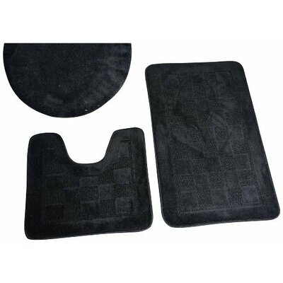 Hobert 3 Piece Solid Bath Rug Set Color: Black