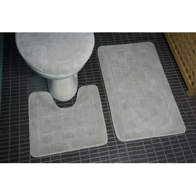 Hobert 3 Piece Solid Bath Rug Set Color: Silver