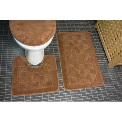 Hobert 3 Piece Solid Bath Rug Set Color: Brown