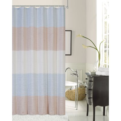 Evelyn Ocean Wave Shower Curtain Color: Ivory/Aqua/Blush