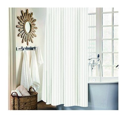 Carson Stripe Shower Curtain Set Color: White