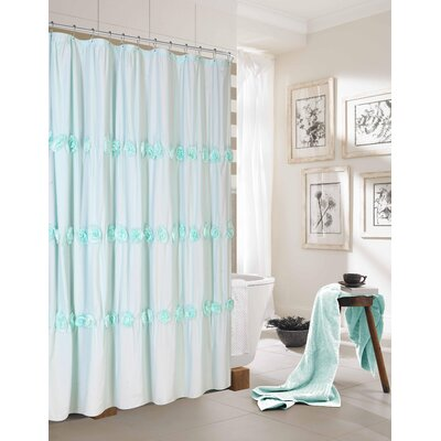 Walters New Rosette Fabric Shower Curtain Color: Aqua