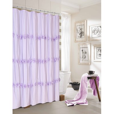 Walters New Rosette Fabric Shower Curtain Color: Lilac