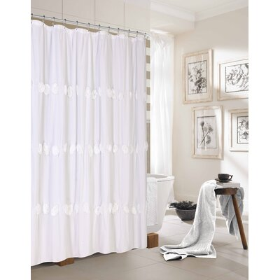 Walters New Rosette Fabric Shower Curtain Color: White