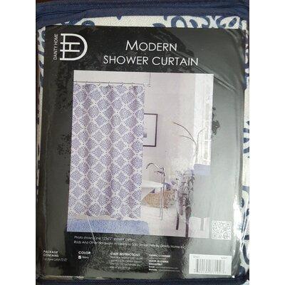New Modern Linen Look Printed Shower Curtain