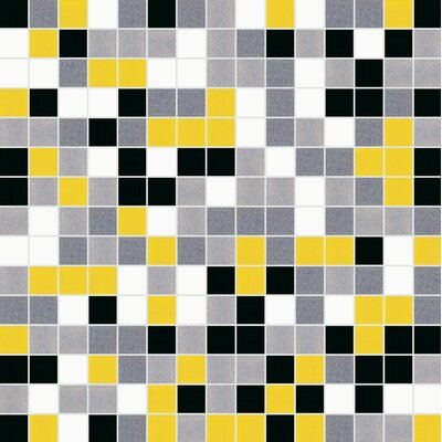 Standard Mix 13 x 13 Glass Mosaic Tile in Yellow/Black