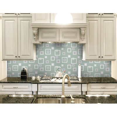 Urban Essentials Balanced Squares 3/4 x 3/4 Glass Glossy Mosaic in Placid Turquoise