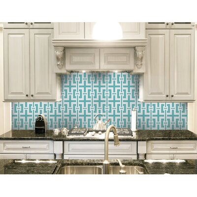 Urban Essentials Slight Lattice 3/4 x 3/4 Glass Glossy Mosaic in Deep Teal