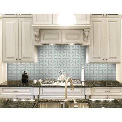 Urban Essentials Geometric Lattice 3/4 x 3/4 Glass Glossy Mosaic in Placid Turquoise
