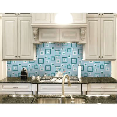Urban Essentials Balanced Squares 3/4 x 3/4 Glass Glossy Mosaic in Deep Teal
