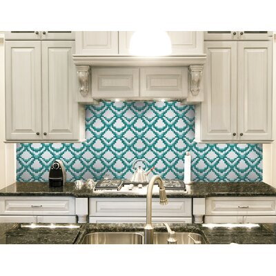 Urban Essentials Subtle Scales 3/4 x 3/4 Glass Glossy Mosaic in Deep Teal