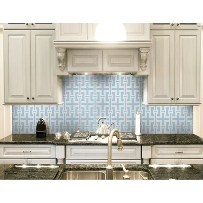 Urban Essentials Slight Lattice 3/4 x 3/4 Glass Glossy Mosaic in Breeze Blue