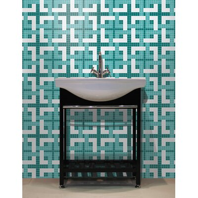 Urban Essentials Woven Lattice 3/4 x 3/4 Glass Glossy Mosaic in Deep Teal